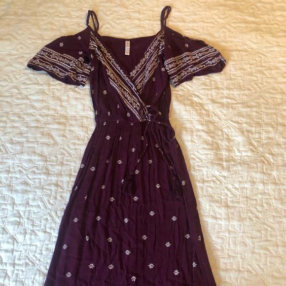 NWOT xhilaration wrap maxi dress purple floral xs